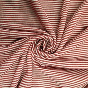 Red French Terry Striped Poly Rayon Spandex Fabric