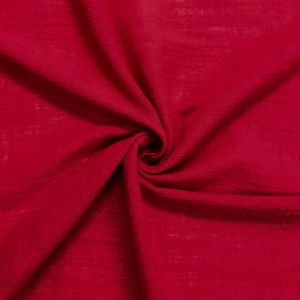 Red EXID Pattern Cotton Rayon Gauze Linen Fabric