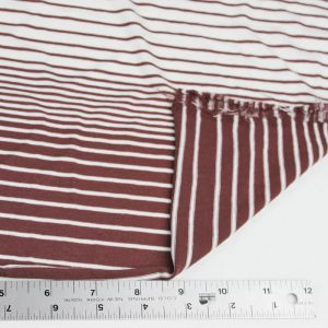 Red Brown Off White 100% Crepe Viscose Variegated Stripe Jersey Knit Fabric