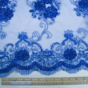 Royal 3D Hyacinth Trio Floral Sequin Foil Embroidered 54'' on Mesh Scalloped Lace Fabric