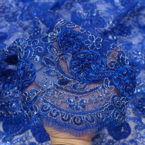 Royal 3D Melissa Double Floral Embroidered with Sequin Foil Mesh Scalloped Lace Fabric