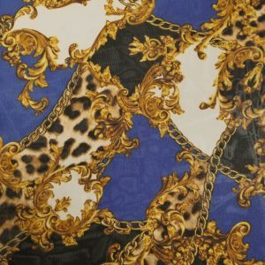 Royal with Gold Chain Print Hi-Multi Chiffon Fabric