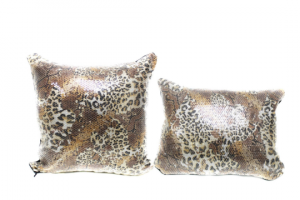 Safari Shine Cheetah Tan Gold Sequin 16x16 Pillow with Shimmer Pillow Sham Accent Pillow