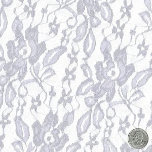 Silver Tea Rose Floral Lace Fabric