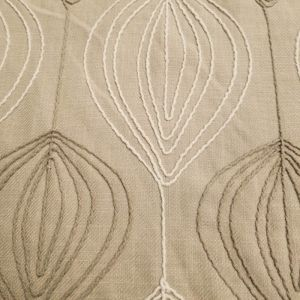 Taupe Winter Leaf Embroidered on Canvas Fabric