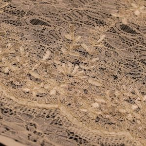 Taupe  Evelyn Floral Embroidered  Sequin Embroidered Lace Fabric
