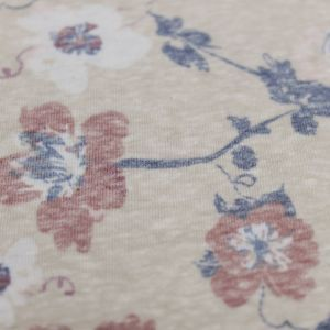 """Taupe Marsala 59"""" Floral Printed Polyester Cotton Knit Fabric"""