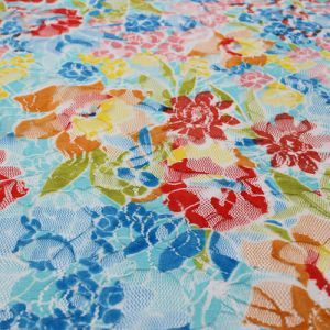 Blue Scarlet Printed on Lace Fabric