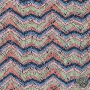 Bonfire Pattern Print On Crochet Fabric With Brushed Finish- NAVY/PEACH