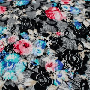 Coral Turquoise Floral Print on lace fabric