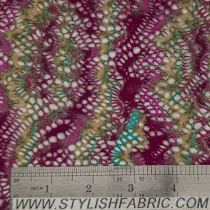 Mountain Pattern On Crochet Fabric With Brushed Finish-MAGENTA-YELLOW
