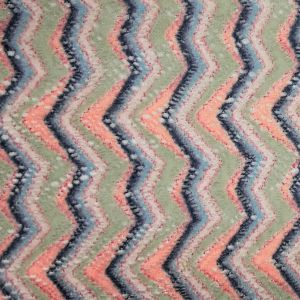 Mountain Pattern On Crochet Fabric With Brushed Finish-NAVY-PEACH