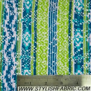 Mountain Pattern On Crochet Fabric With Brushed Finish- BRT-LIME-BLUE