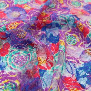 Purple Coral Floral Pattern Printed on Lace Fabric