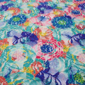 Teal Peach Floral Pattern Printed on Lace Fabric