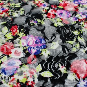 Purple Red Floral Print on lace fabric