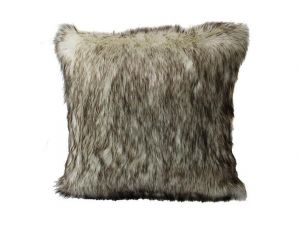 Tundra Wolf Faux Fur Throw Pillow  Cover