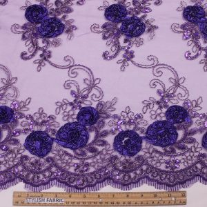 Violet 3D Melissa Double Floral Embroidered with Sequin Foil Mesh Scalloped Lace Fabric