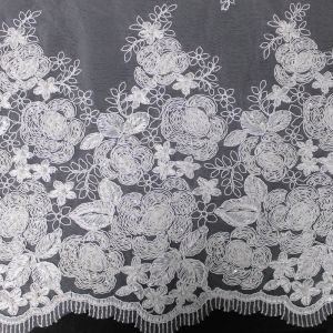 White Birdal Romaine Floral Sequin Embroidered Corded Wedding Lace Fabric