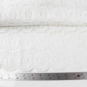 Matte Vintage Inspired Floral Bed White Scallop Lace Fabric with Petal Edge - Margaret