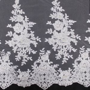 White Beaded  Bridal Elizabeth Lace With Flower Sequins Scalloped Edge Embroidered Wedding Fabric