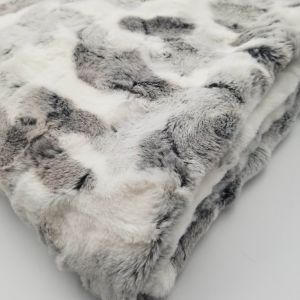 Grey White Spotted Faux Fur Throw Blanket- 50 x 60  Pillow -18 x18 -Pillow Case Only!