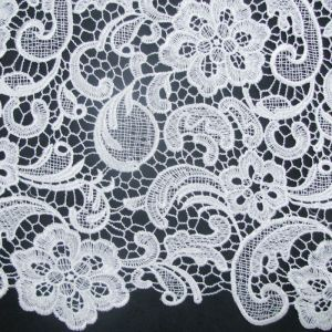 White Silver Venice Guipure Embroidered Lightweight Wedding Bridal Lace Fabric