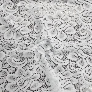 """White 60"""" Light-Weight Floral Lace Fabric"""