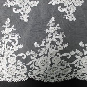 White Bridal Hannah with Flower Sequins Scalloped Edge Embroidered WeddingFabric