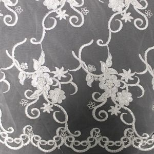 White Bridal Sunshine Floral Sequin Embroidered on a Mesh Wedding Lace Fabric