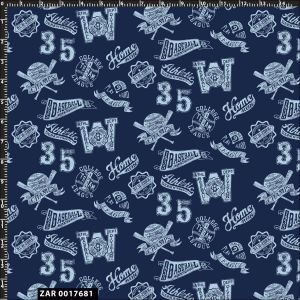 Conversational Baseball Sport Pattern Quilting Fabric by the Yard